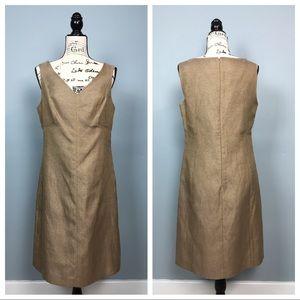 Talbots Gold Linen Blend Sleeveless Dress